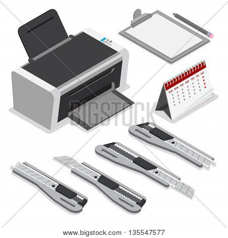 Isometric printer clipboard calendar knife vector icon Flat 3d