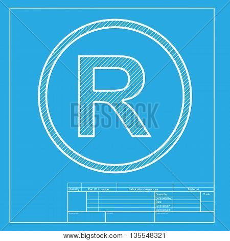Registered Trademark sign. White section of icon on blueprint template.
