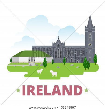 Ireland country design template Flat cartoon style web vector