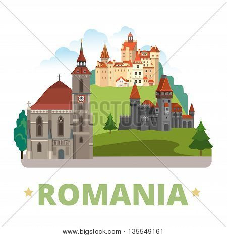 Romania country design template Flat cartoon style web vector