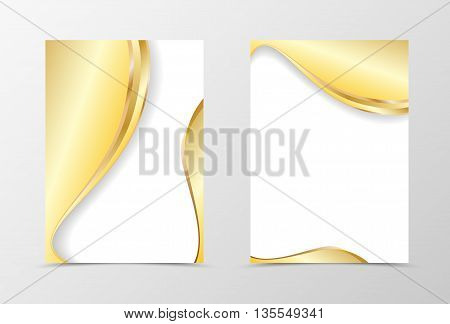 Gold flyer template design. Abstract flyer template in light gold color. Wavy flyer design. Vector illustration