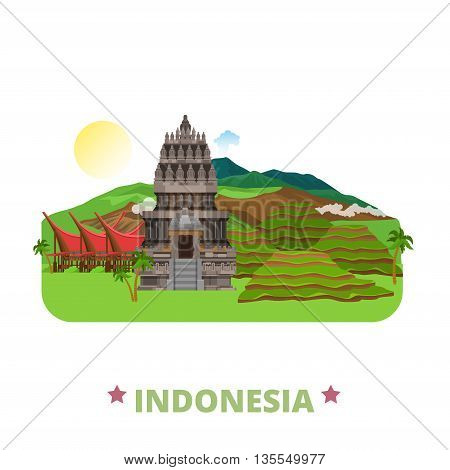 Indonesia country design template Flat cartoon style web vector