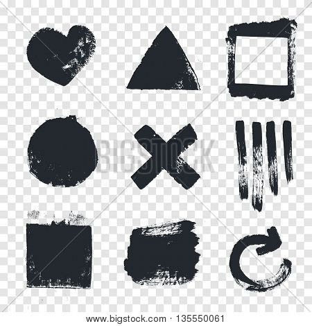 Grungy design elements. Vector set of grungy design elements isolated on a transparent background.