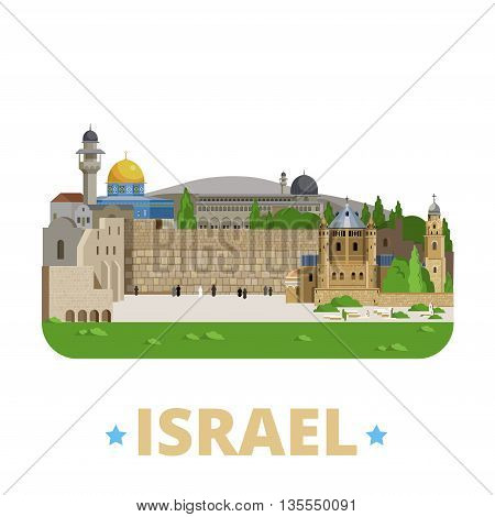 Israel country design template Flat cartoon style web vector