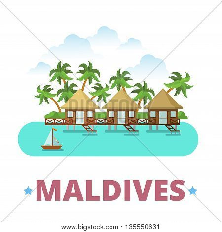 Maldives country design template Flat cartoon style web vector