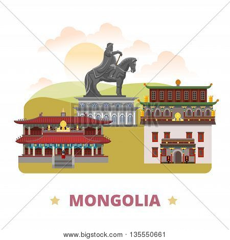 Mongolia country design template Flat cartoon style web vector