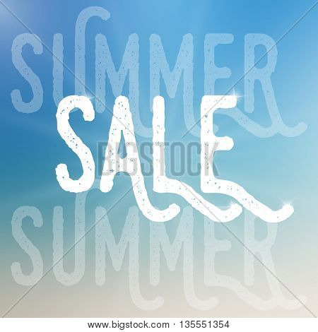 Vector summer sale template. Summer sale template on blurred colorful background.Template with text with different size and transparency. Sale text with sparkles. Sale card template for various use.