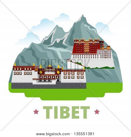Tibet country design template Flat cartoon style web vector