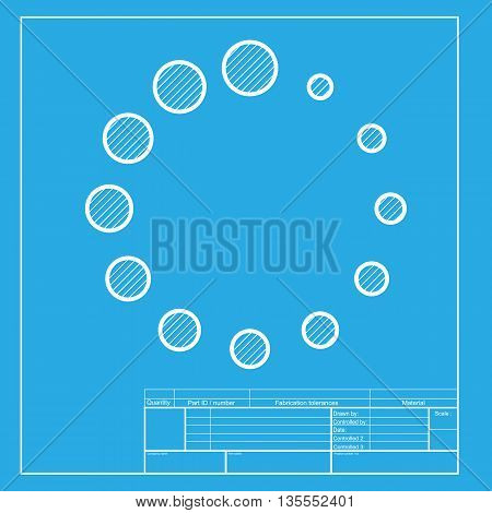 Circular loading sign. White section of icon on blueprint template.