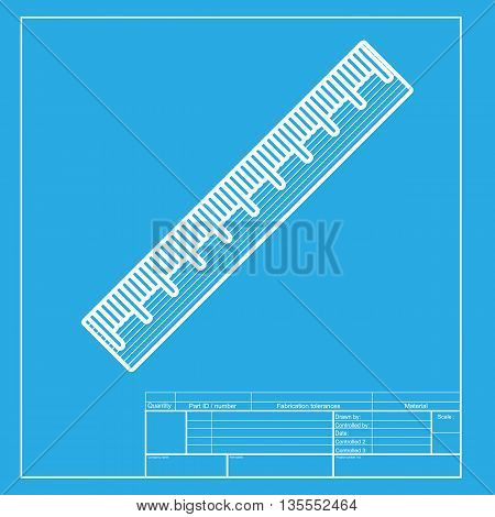 Centimeter ruler sign. White section of icon on blueprint template.