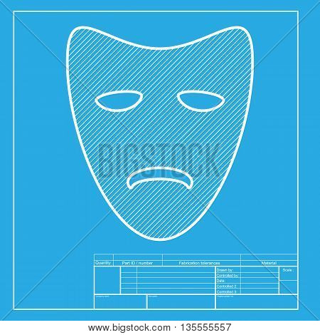 Tragedy theatrical masks. White section of icon on blueprint template.