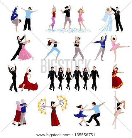 Dancing various styles of dance people of different ages in costumes flat icons set isolated vector illustration