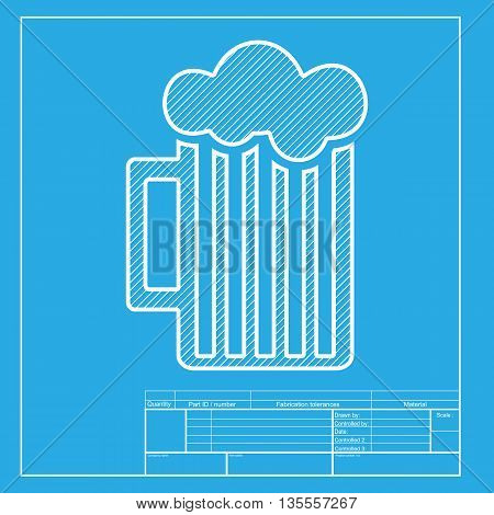 Glass of beer sign. White section of icon on blueprint template.
