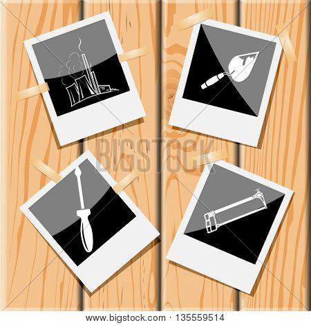 thermal power engineering, trowel, hacksaw, screwdriver. Industrial tools set. Photo frames on wooden desk. Vector icons.