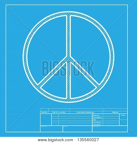 Peace sign illustration. White section of icon on blueprint template.
