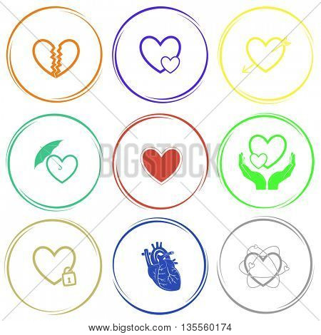 unrequited love, careful heart, arrow, protection love,  love in hands, closed heart, atomic heart. Heart shape set. Internet button. Vector icons.
