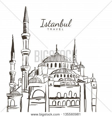 Vector Hand Drawn Sketch Illustration Of Blue Mosque, Sultanahmet Camii. Istanbul Architecture And L