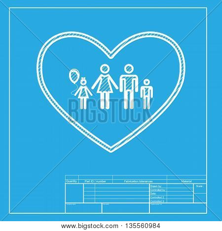 Family sign illustration in heart shape. White section of icon on blueprint template.