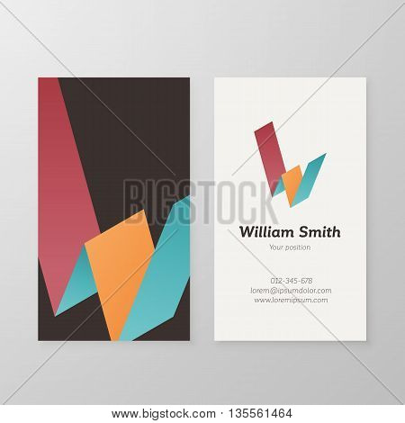 Business card with isometric letter W template. Vector business card editable design.