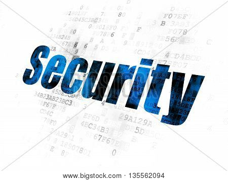 Safety concept: Pixelated blue text Security on Digital background