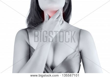 Sore throat woman, isolate on white background