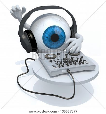 Blue Eyeball With Dj Headset In Front Of Consolle