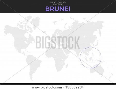 nation of Brunei Abode of Peace location modern detailed vector map. All world countries without names. Vector template of beautiful flat grayscale map design