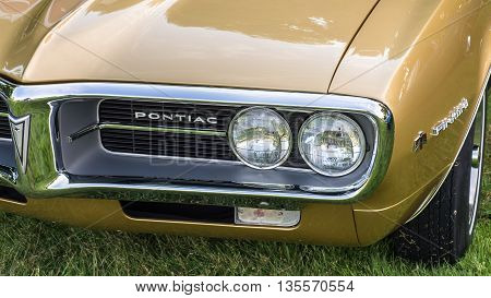 GROSSE POINTE SHORES MI/USA - JUNE 19 2016: A 1967 Pontiac Firebird 400 car at the EyesOn Design car show, held at the Edsel and Eleanor Ford House, near Detroit, Michigan.