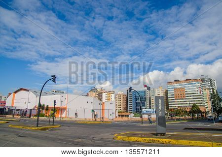 QUITO, ECUADOR - JULY 7, 2015: Famous and important neighborhood in Quito, sunny day with nice clouds.
