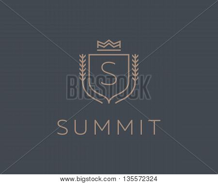 Premium monogram letter S initials ornate signature logotype. Elegant crest logo icon vector design. Luxury shield crown sign