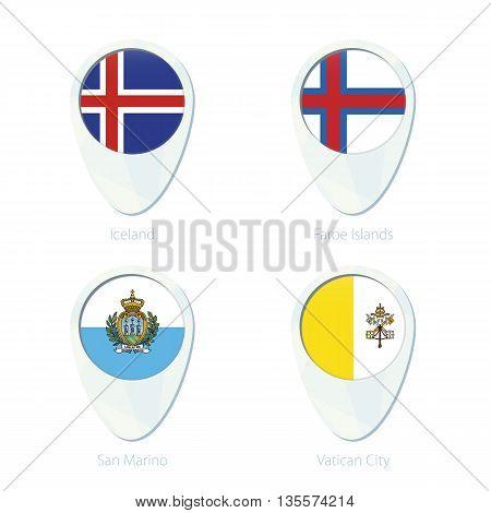 Iceland, Faroe Islands, San Marino, Vatican City Flag Location Map Pin Icon.