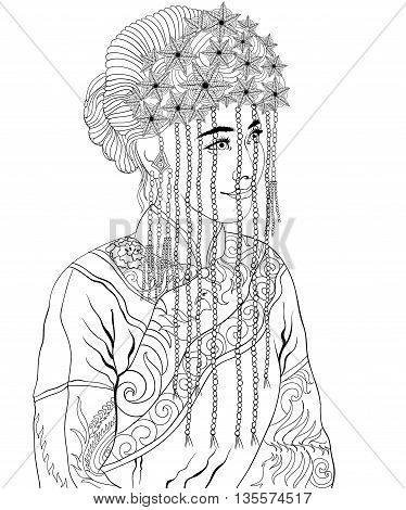 Adult Coloring Images of Women from around the world.Uncolored image can be used as adult coloring book, coloring page, invitation, greeting card.