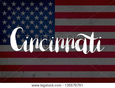 Cincinnati written with hand-written letters