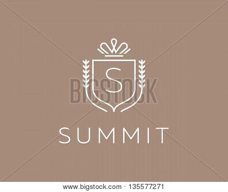 Elegant monogram letter S logotype. Premium crest logo design. Shield, royal crown symbol. Print, t-shirt design shape