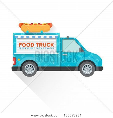 Food Truck Delivery Vehicle Illustration.