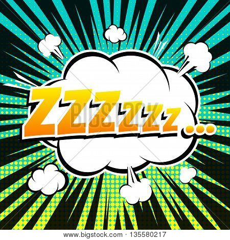 Zzz comic book bubble text retro style