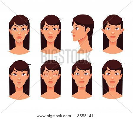 Plastic reconstructive surgery face, isolated cartoon illustration, surgical correction of the human person, podtyashka chin, nose correction eye face ear surgery