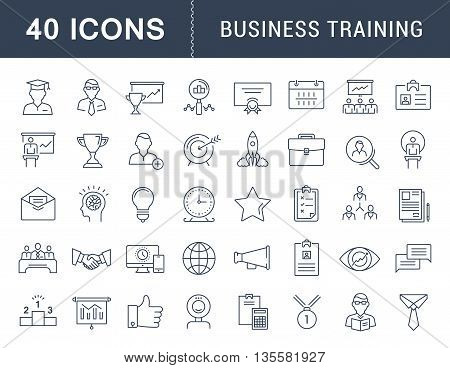 Set vector line icons in flat design business training and development training course business meeting with elements for mobile concepts and web apps. Collection modern infographic logo and sign.