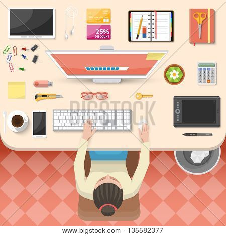 Workplace top view design with working woman white table computer gadgets organizer coffee tiled floor vector illustration