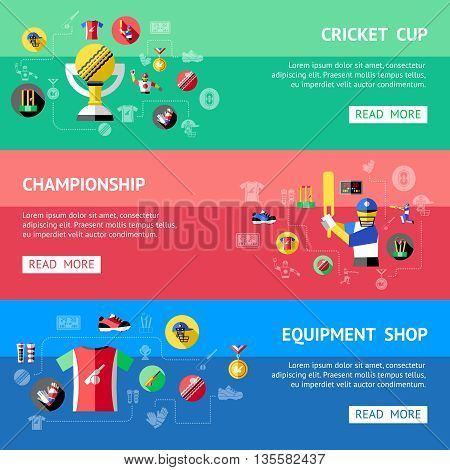 Three horizontal cricket banner set with descriptions of cricket cup championship and equipment shop vector illustration