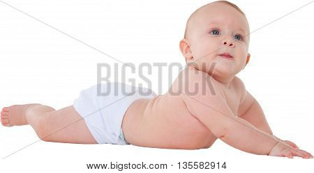 A photo of cute baby boy looking away Side view of toddler is lying on his tummy He is wearing diaper isolated on white background