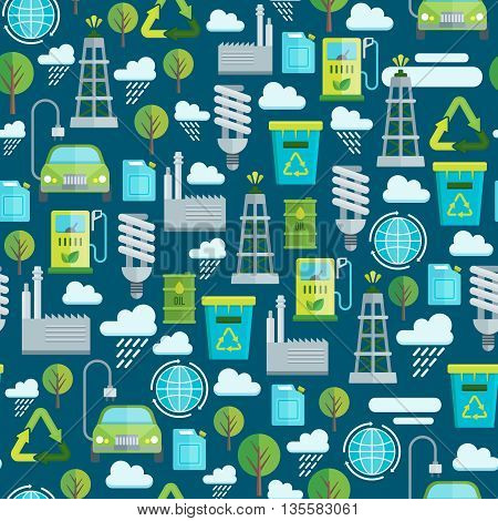 Ecology seamless pattern with factory lightbulb bio fuel electric car recycling garbage on blue background vector illustration
