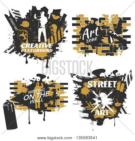 Street art compositions with white inscriptions silhouettes of painters crosswalks on brick wall background isolated vector illustration