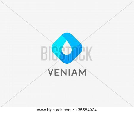 Abstract water aqua oil drop vector logo design template. Waterdrop negative space logotype