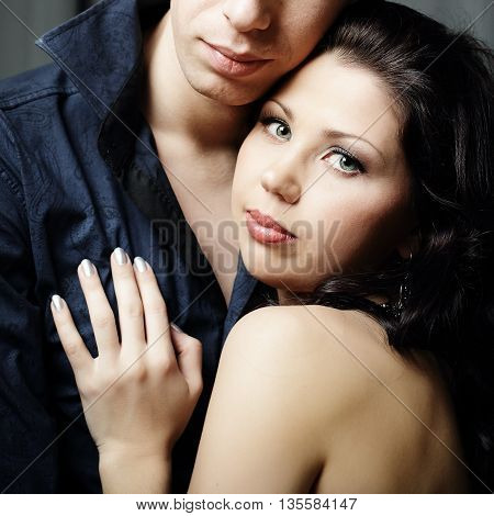 Woman and man in love and happy