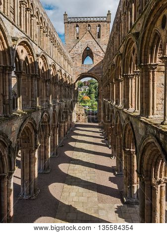 The ruins of Jedburgh Abbey in the Scottisch Borders region in Scotland