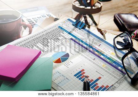 Spreadsheet Document Financail Report Concept