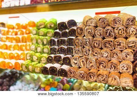 Beautiful colorful sets of turkish delight and other sweets.