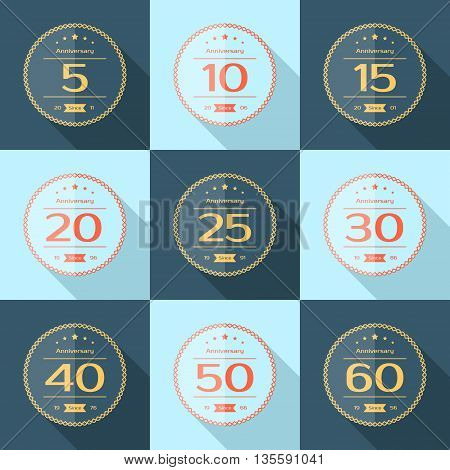 Vector set of anniversary signs, symbols. Five, ten, fifteen, twenty, thirty, forty, fifty, sixty years jubilee design elements collection.