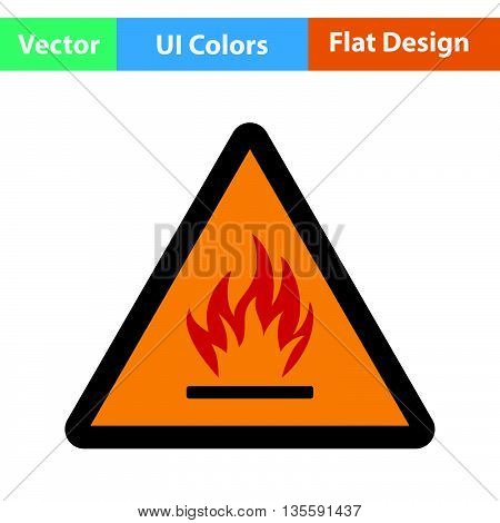Flammable icon. Flat color design. Vector illustration.